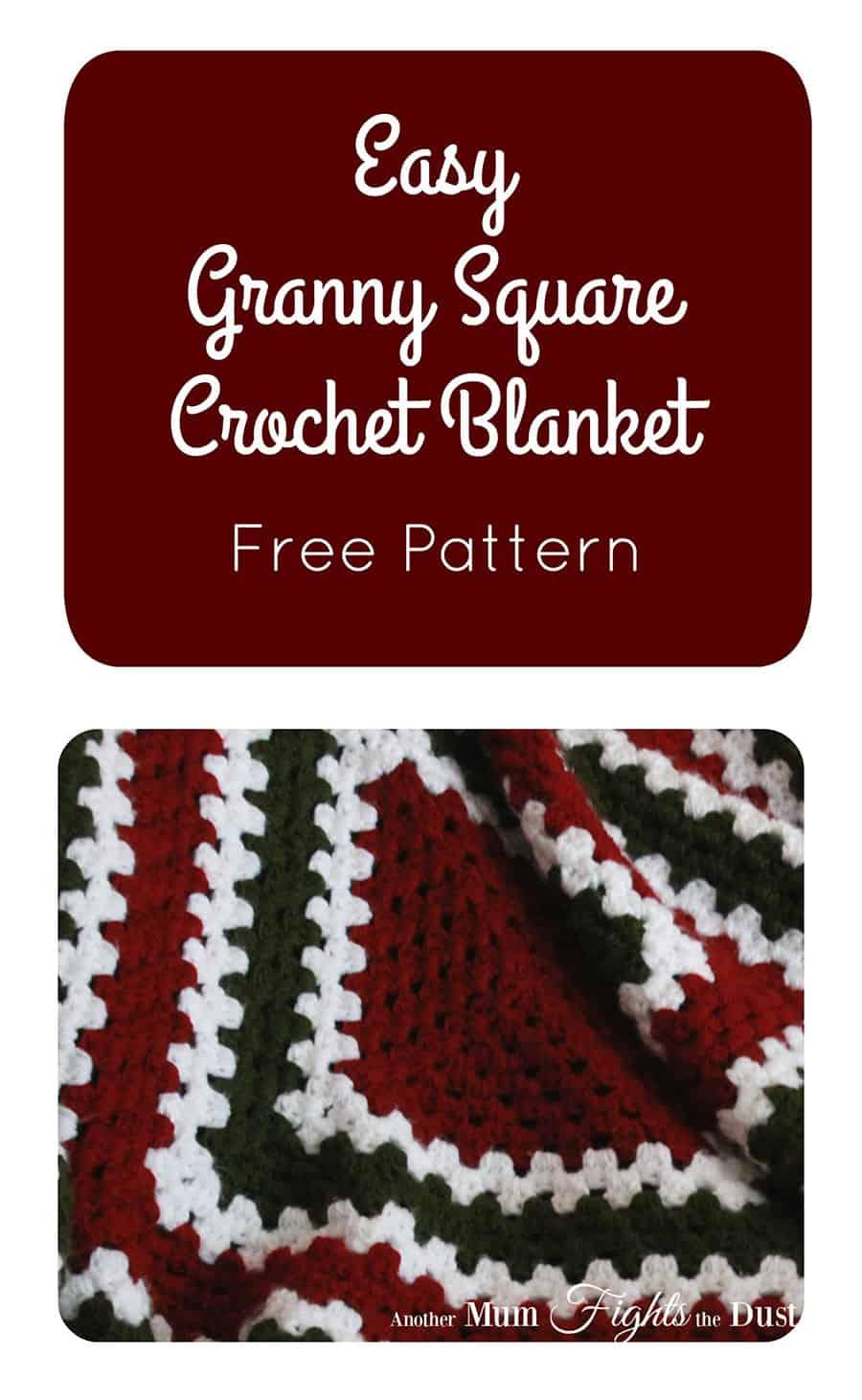 Christmas Granny Square Crochet Blanket Free Pattern