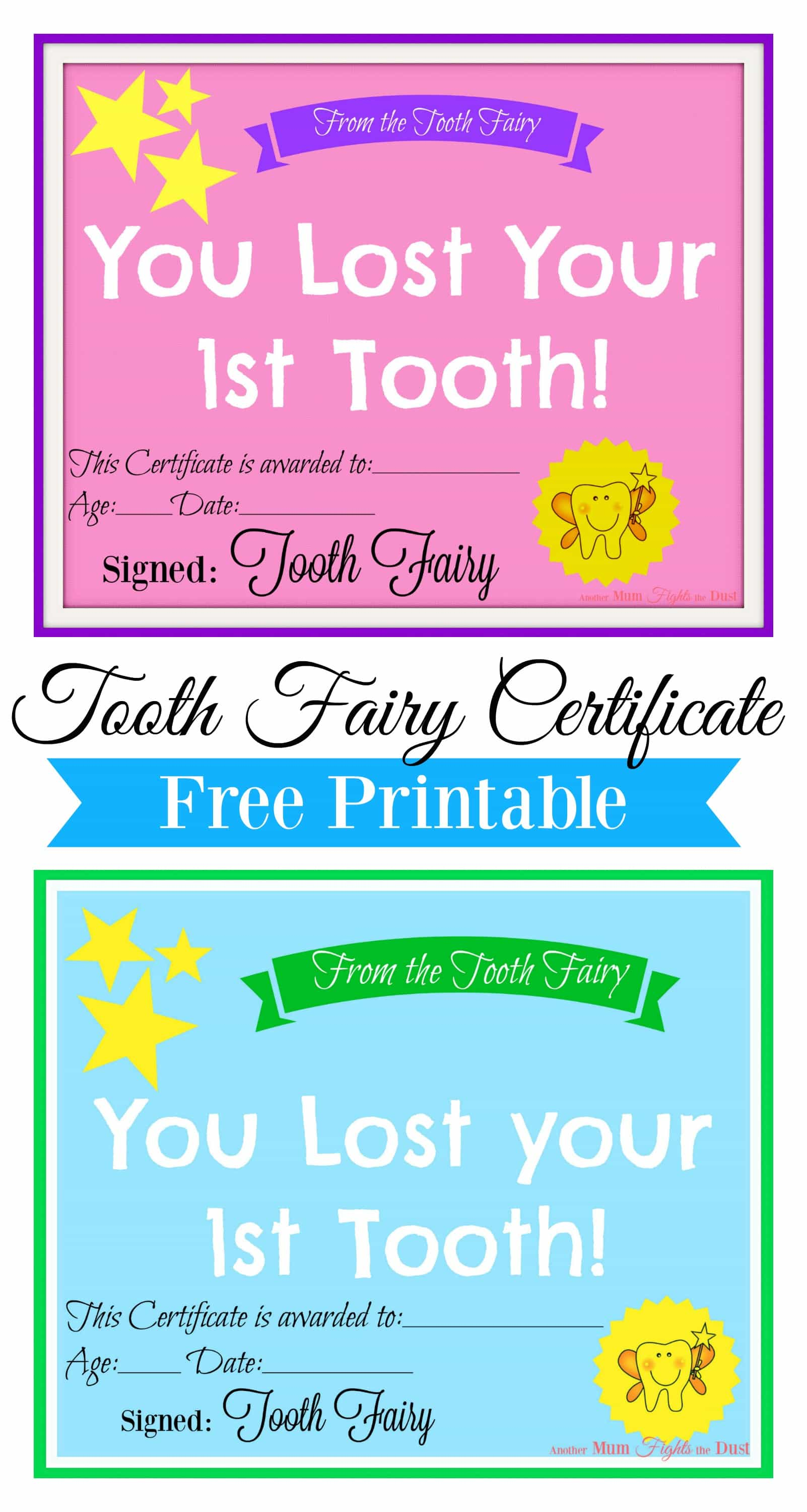 graphic about Tooth Fairy Letter Printable named Cost-free Printable Enamel Fairy Certification - An additional Mum Fights