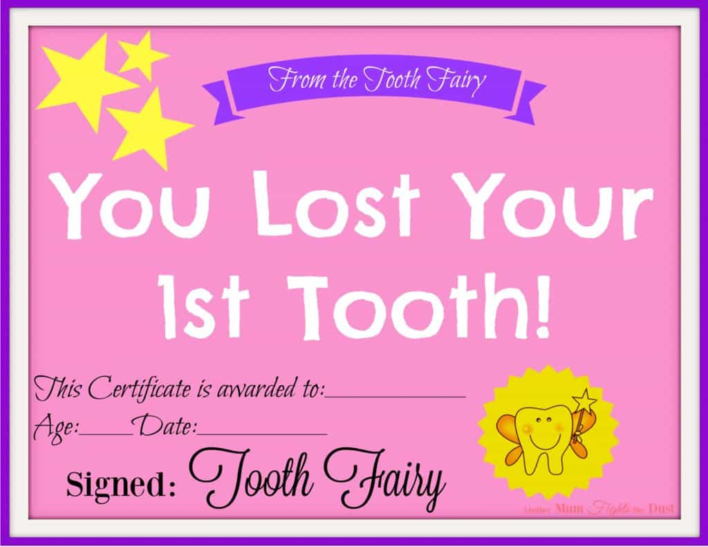 Free printable tooth fairy certificate another mum fights the dust tooth fairy certificate spiritdancerdesigns Choice Image