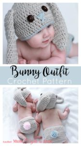 Get the crochet pattern to make this adorable bunny outfit just in time for Easter. The finished product is also available to purchase.