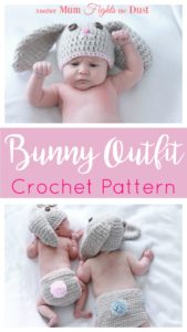 This adorable crochet bunny outfit comes complete with a hat and diaper cover.  It would make the perfect newborn photo prop or Easter gift for the new baby in your life.  Find the Crochet pattern or order your very own custom made bunny outfit here.