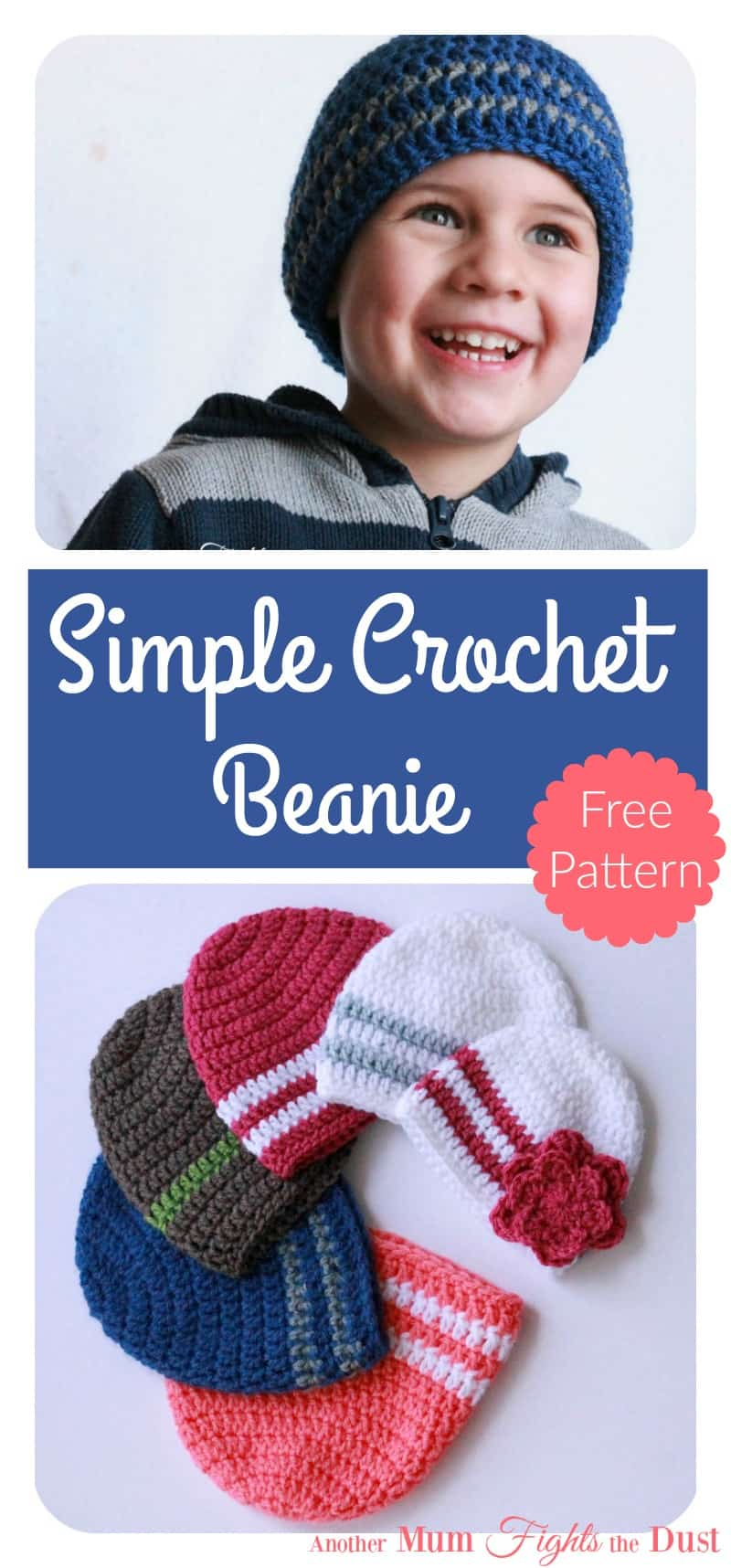 Free Crochet Pattern   Easy Crochet Hat Pattern   Crochet Beanie Pattern 84637c8e645
