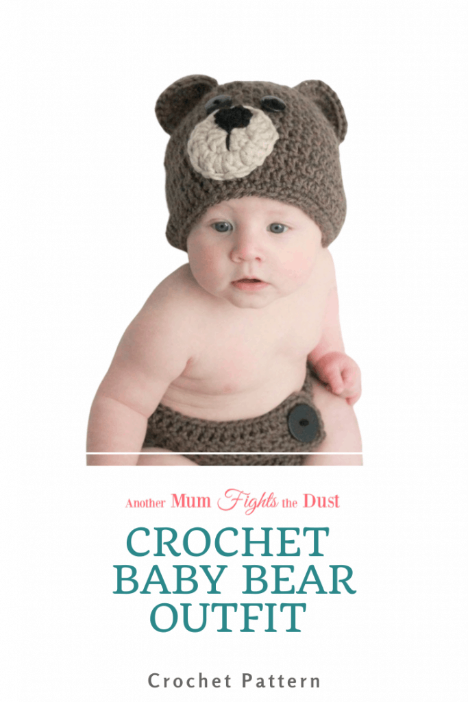 This Crochet Baby Bear Outfit Pattern is available in sizes 0-12 months.  Get the crochet pattern here.